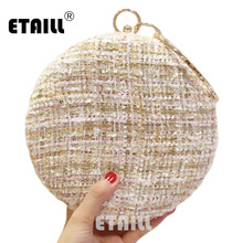ETAILL Wool Plaid Circular Evening Dress Bag Women Luxury Round Wedding Party Clutches Brides Big Metal Ring Chain Shoulder