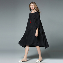 New 2017 Summer style women loose silk wrinkles knee-length dress 3/4 sleeves female casual vestidos plus size tunics XXXXL 6525