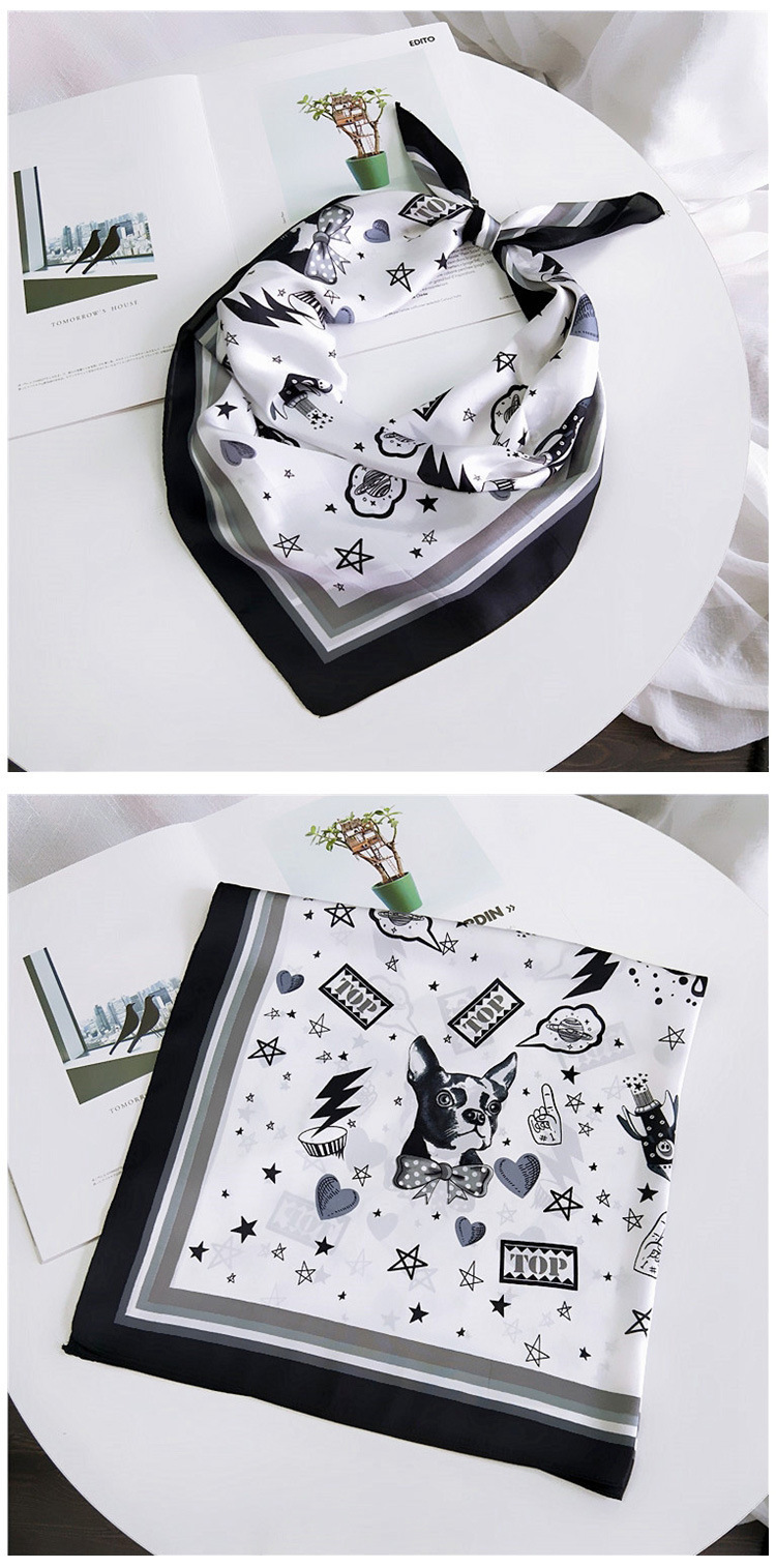 HTB1EnPWLwHqK1RjSZFEq6AGMXXam - 70*70cm Fashion Kerchief Cartoon Scarf For Women Animal Print Hair Scarf Female Square Neckerchief Cute Headband Scarves