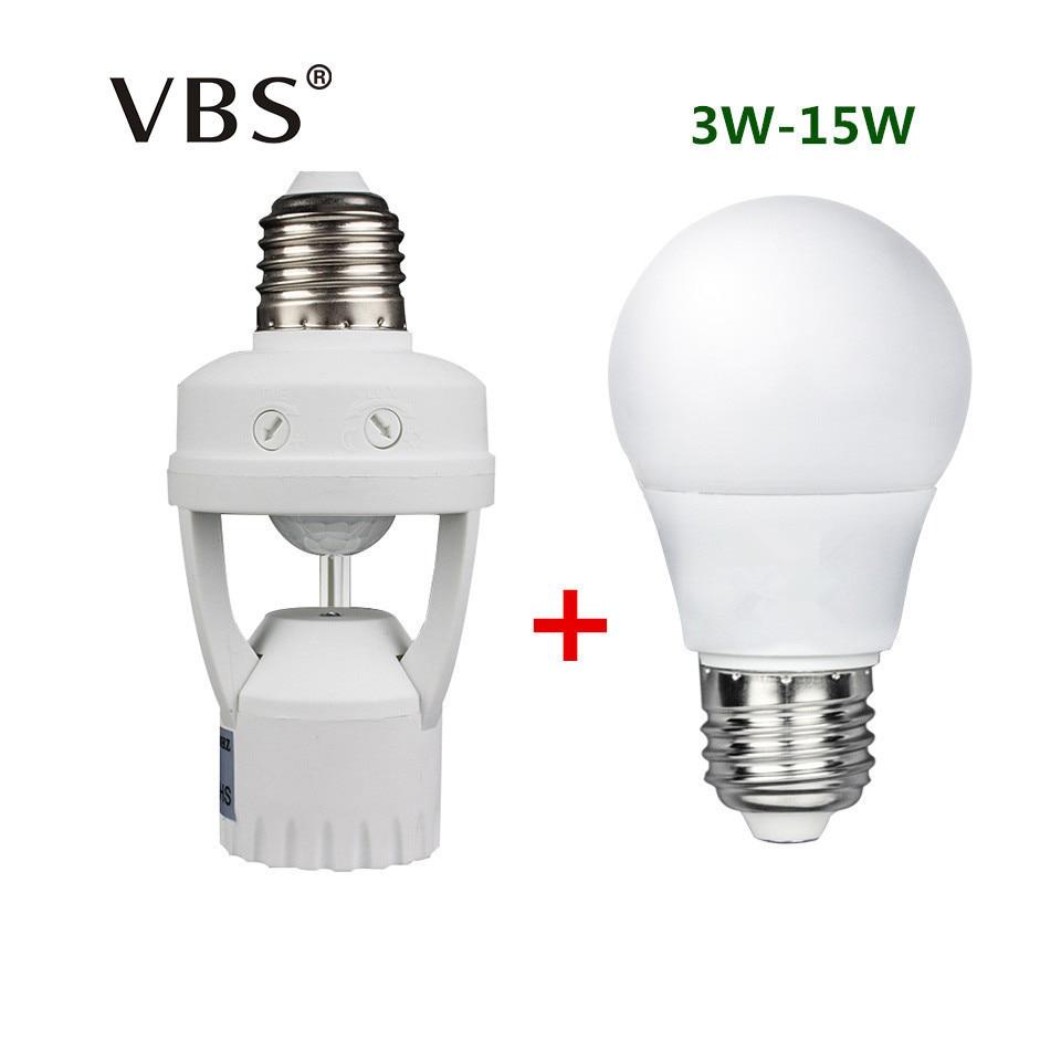 220V LED Bulbs E27 15W 12W 9W 7W 5W 3W Led Bulb With Motion Sensor Lamp Base E27 Globe Bases Motion Sensor Light Bulb 220V