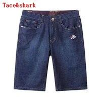 Джинсы человек брендовая одежда tace & Shark джинсы штаны пять мужские 2017 Летний Новый Англия простой поясничного Вышивка Досуг товара