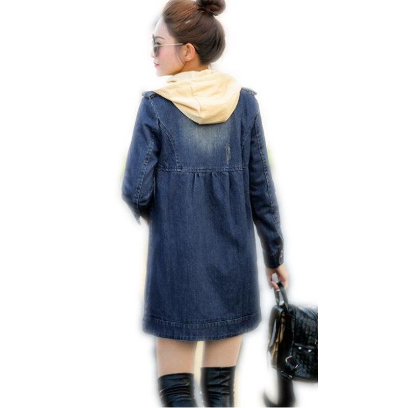 Fashion Plus Size 5XL 2018 Spring Women Medium-Long Loose Jeans Jacket Coat Female Single Breasted Removed Cap Thin Jacket CQ913