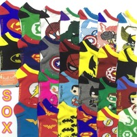 Foot 22-27cm Cartoon Socks Superman Ionman Spiderman Batman Stripe Hero Man Boyfriend Cotton Daily Work Holiday Home School Male