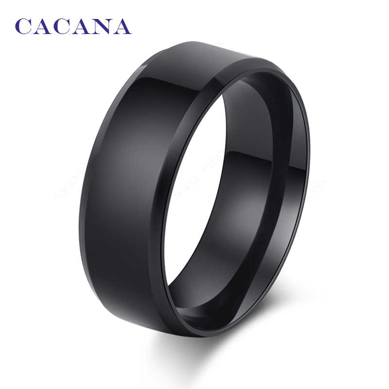 CACANA  Stainless Steel Rings For Women Refinement Black Color Fashion Jewelry Wholesale NO.R25