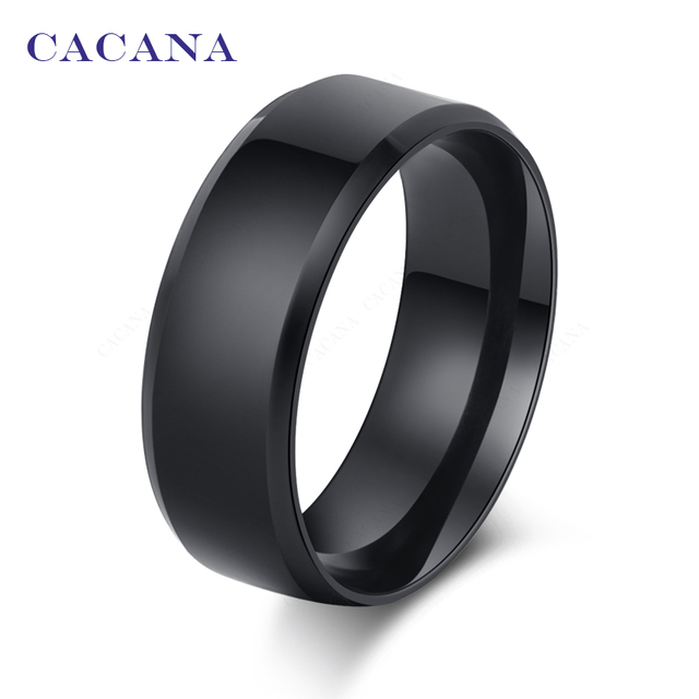 CACANA Titanium Stainless Steel Rings For Women Refinement Black Color Fashion J