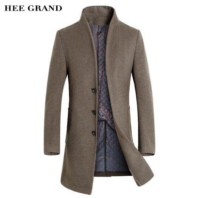 HEE GRAND Men Long Stretch Cashmere Blends Hot Sale Autumn Winter Stand Collar Stylish Thick Coat Size M-3XL 5 Colors MWN278