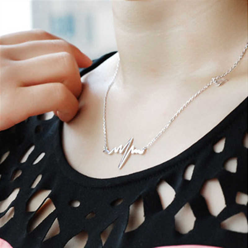 เกาหลีใหม่แฟชั่นเครื่องประดับไทเทเนียมเหล็ก Bijoux Femme ทองเงิน ECG หัวใจสร้อยคอ Clavicle Choker สร้อยคอจี้