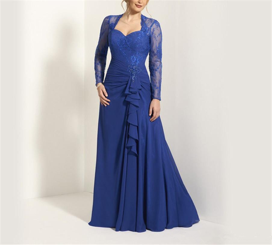 Royal Blue 2019 Mother Of The Bride Dresses A-line Long Sleeves Chiffon Lace Beaded Formal Groom Long Mother Dresses For Wedding