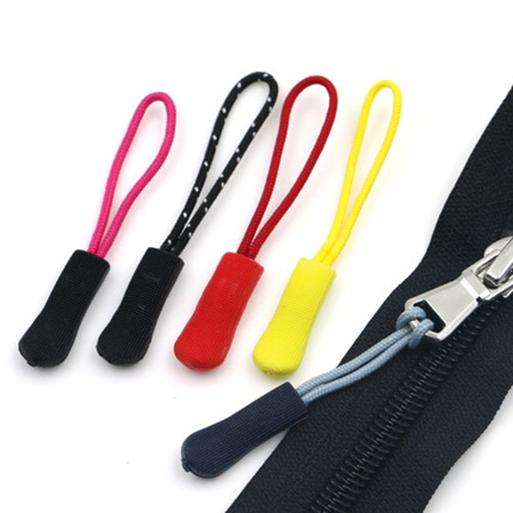 10 Pieces Nylon Zipper Pull Cord Zipper Extension Zipper Tag Replacement Zipper Fixer Red Color