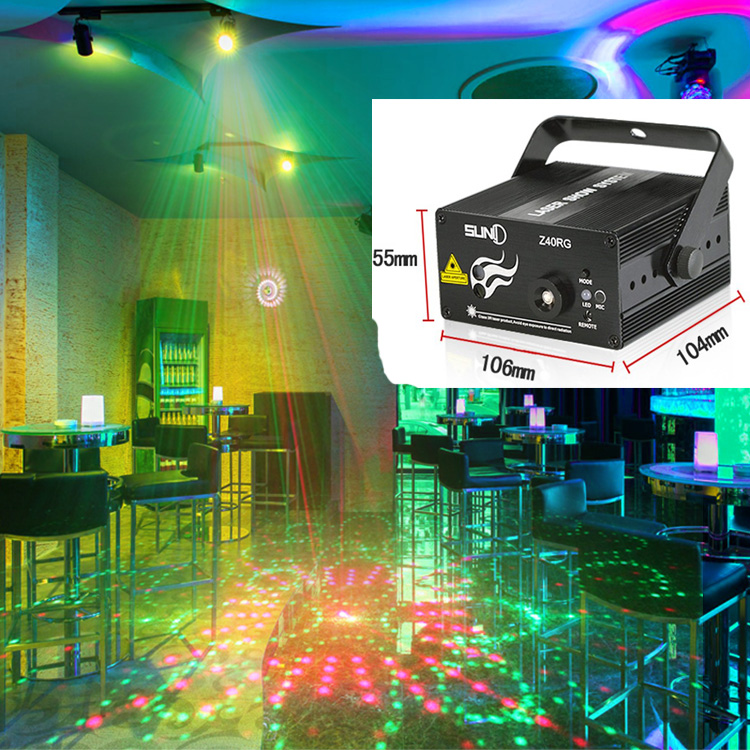 Mini 3 Lens 40 Patterns Mixing Laser Projector Effect Stage Remote 3W Blue LED Light Show Disco Party Lighting