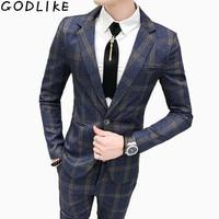 Mens Plaid Suits Men Slim Fit 2 Piece Mens Suit With Pants Streetwear Casual Tuxedo Suits Male Wedding Formal Check Dress Suits