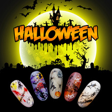 Nail Art Sticker for Halloween Self-sticking Stickers F Series Decal Self-adhesive Press on Nails Manicure Design NBF