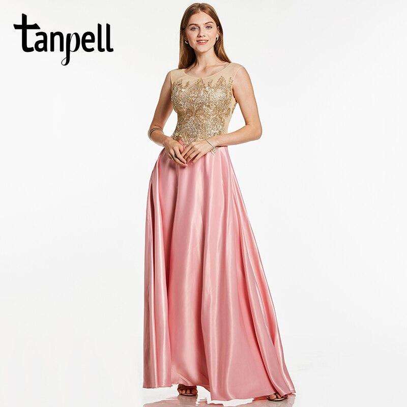Tanpell appliques शाम पोशाक गुलाबी बथुए गर्दन बिना आस्तीन फर्श मंजिल एक लाइन गाउन सस्ते महिलाओं औपचारिक सालाना जलसे शाम पोशाक