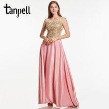 Tanpell appliques evening dress pink bateau neck sleeveless floor length a line gown cheap women formal prom long evening dress fashionable women s bowknot decorated sleeveless pink round neck dress