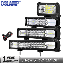 Oslamp 12″ 16″ 20″ 23″ 3-Row LED Light Bar Offroad CREE Chips Combo Beam Led Work Light Bar for Truck SUV ATV 4×4 4WD DC12v 24v