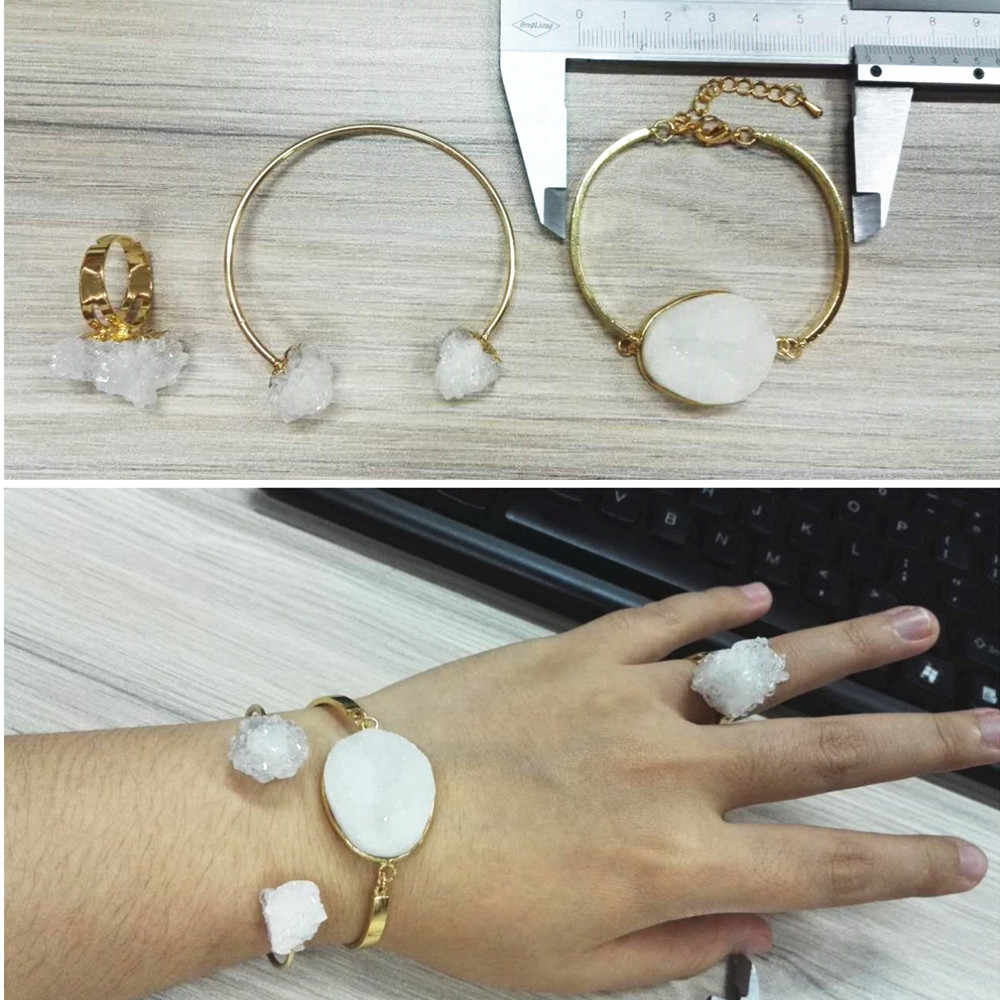 charms Original design golden jewelry adjustable white rough drusy white stone druzy ring open bangle cuff for women beauty