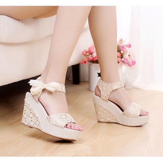 594b166db69a ... ete 2015 mode sexy talons hauts sandales femmes plate forme de coin sandales  chaussures douces rubans
