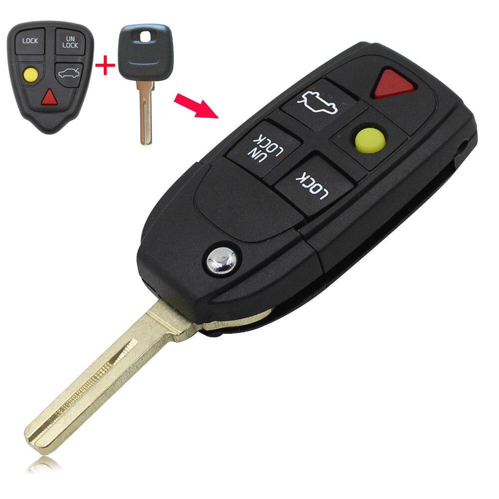 KEYYOU 5 Boutons Bascules À Distance Pliant Shell Key Case Pour Volvo XC70 XC90 V50 V70 S60