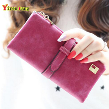 Wallet women luxury brand nubuck leather credit card holder retro new clutch womens wallets and purses 2016 long free shipping