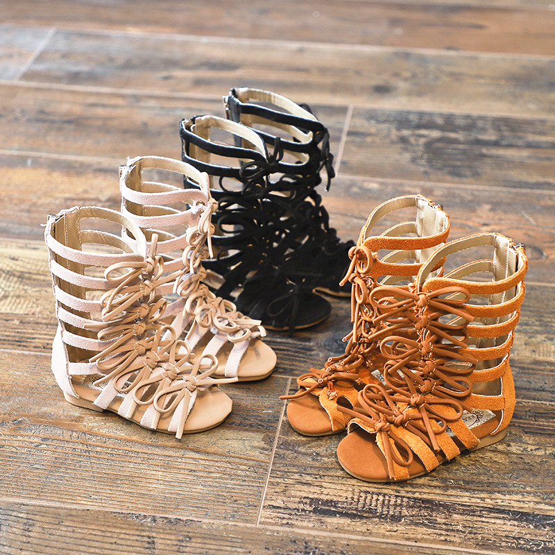 Real Leather Girls Sandals Suede Leather Children Roman Sandals Bow Female Boots Kids Gladiator Sandals