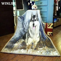 3D Print The Wolf Totem Super Warm Flannel Fleece Sherpa Plush Double Sided Blanket For Sofa