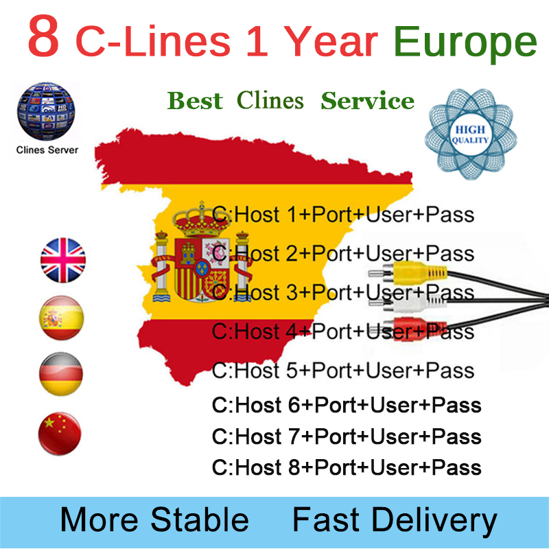 Europe HD cable 1 Year CCCam for Satellite tv Receiver 8 Clines WIFI FULL HD DVB-S2 Support Spain/French cline ccam iks ServerEurope HD cable 1 Year CCCam for Satellite tv Receiver 8 Clines WIFI FULL HD DVB-S2 Support Spain/French cline ccam iks Server