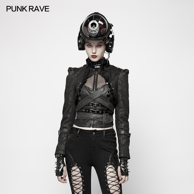 Punk Rave Women Short Jacket Military Uniform Handsome Floral Pattern Sexy Short Coat Jacket Cosplay Costume