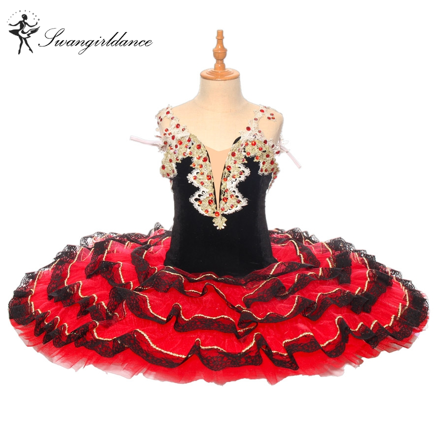 Don Quixote Pancake Tutu Women Black Red Professional Ballet Tutu Paquita Cometiton Stage Tutu Dance Costumes Child  BT9169
