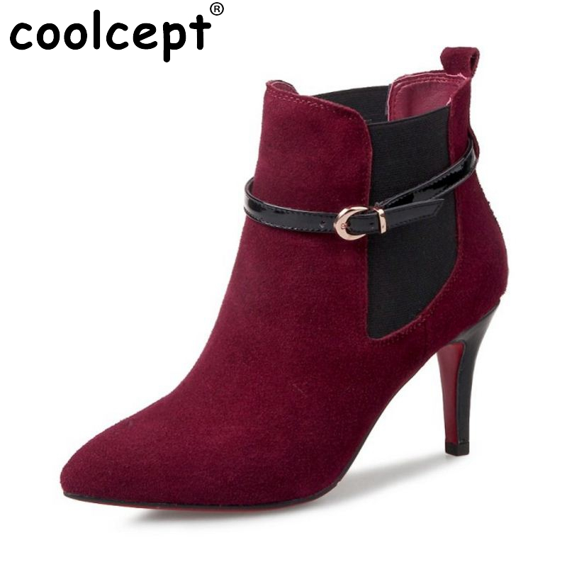 ФОТО New Women Real Genuine Leather Ankle Boots Woman Sexy Thin Heel Bota Feminine Fashion Buckle Short Boot Woman Size 33-43