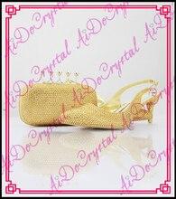 Aidocrystal hochzeit afrikanischen sexy low heel gold kristall slingback schuhe und taschen zu entsprechen