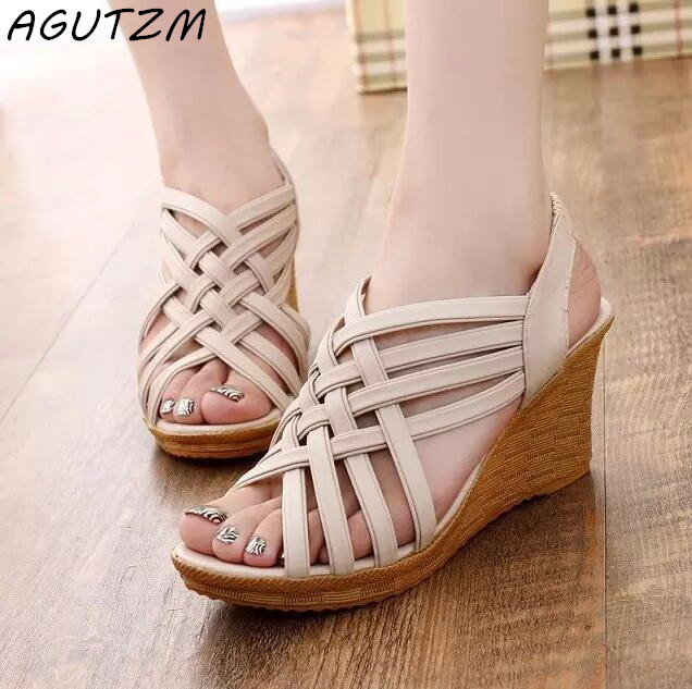 AGUTZM Party Sandals Platform Wedges Shoes Women Open-Toe High-Heels Hollow-Out Sexy