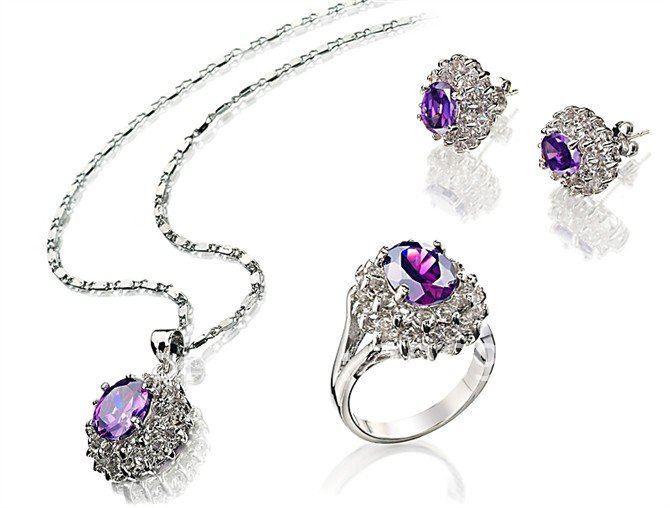 Модные ювелирные изделия сиреневый циркон ожерелье кольцо кулон серьги набор#146
