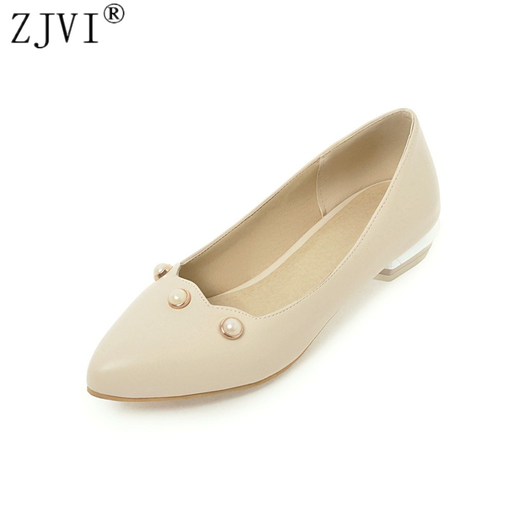 ZJVI women low heels pumps woman pointed toe shoes 2018 summer autumn ladies fashion pearl party womens casual pumps plus size 4
