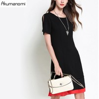 Dress Brief Fashion Black Hollow Out Short Sleeved Draped Hem Contrast Color Summer Dress Plus Size 5XL 4XL XXXL XXL XL L M