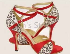 New Hot Red Leopard Print Salsa Dance Shoes Open Toe Dance Shoe Ballroom Salsa Latin Tango Bachata Dancing Dance Shoes(China)