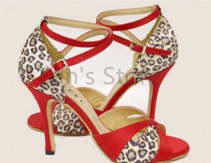 Nouveau Chaud Rouge Imprimé Léopard Chaussures De Danse Salsa Bout Ouvert Chaussures De Danse De Salsa Latine Tango Bachata Danse Chaussures de Danse
