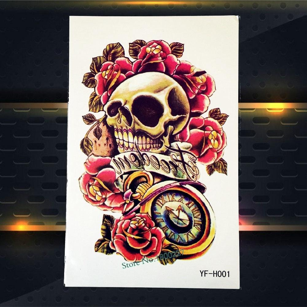Hot Punk Skull Tattoo Sleeve Waterproof Body Waist Art Tatoo Skull Clock Rose Flower Arm Decals Temporary Tattoo Stickers PYFH01