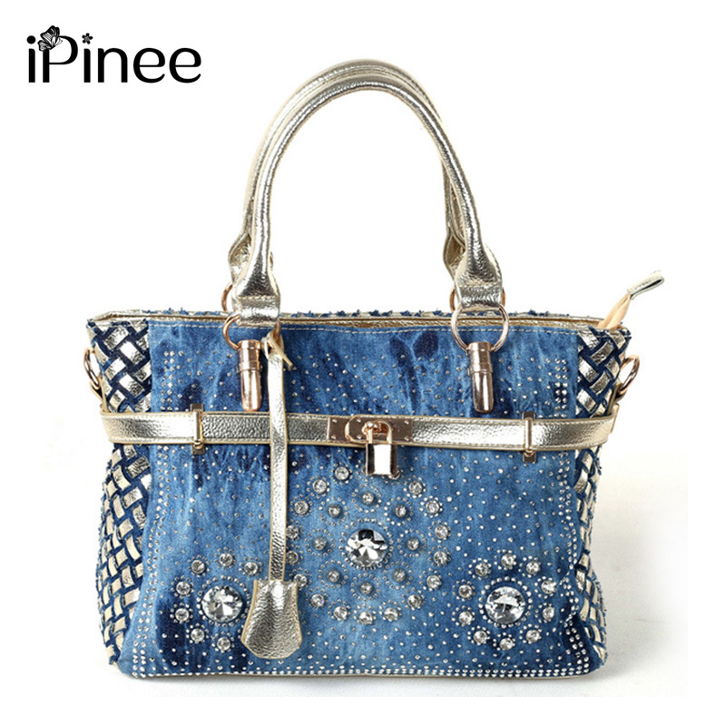 iPinee Summer 2018 Fashion womens handbag large oxford shoulder bags patchwork jean style and crystal decoration blue bag