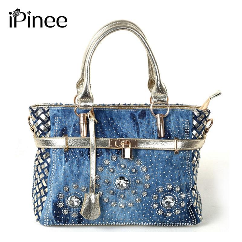 iPinee Літо 2018 Мода жіноча сумка великих плеча сумки оксфорд печворк Жан стиль і кристал прикраса синій мішок