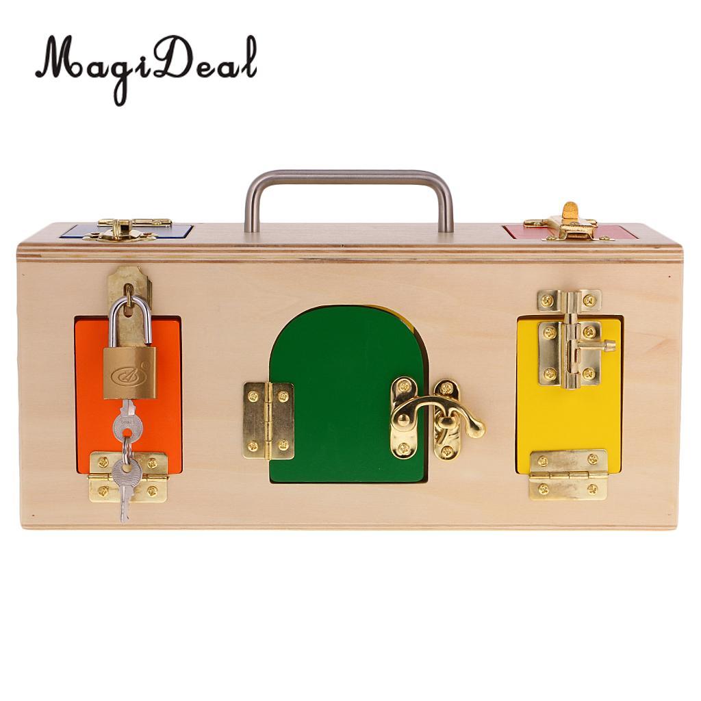 MagiDeal en bois Montessori matériel pratique petite boîte de verrouillage enfants enfants préscolaire Intelligence début jouet éducatif cadeau
