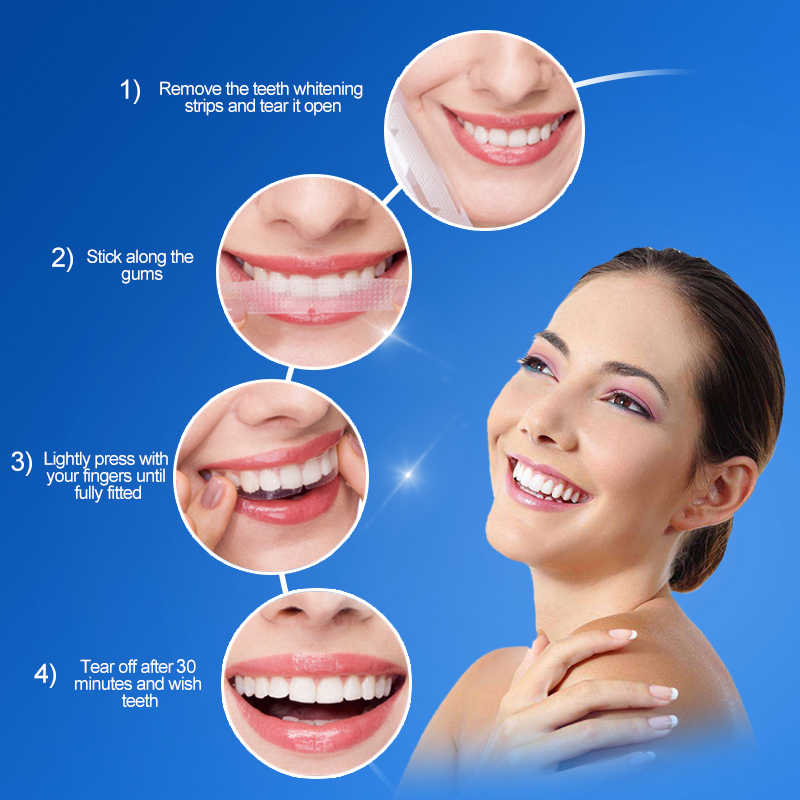Tiras de blanqueamiento de dientes avanzado, higiene bucal, eliminación de manchas, limpieza de dientes, tira de blanqueamiento Dental seco, venta al por mayor diaria, TSLM2
