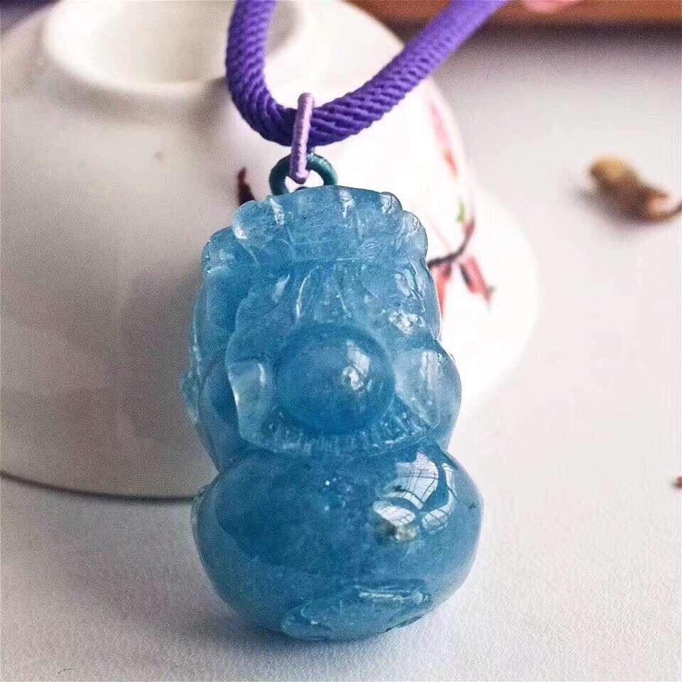 34x21x9mm Natürliche Aquamarin Blau Transparent Kristall Anhänger Pi Xiu Geschnitzte Ozean Halskette Für Frauen Aaaaa Drop Verschiffen Exzellente QualitäT Edler Schmuck Schmuck & Zubehör