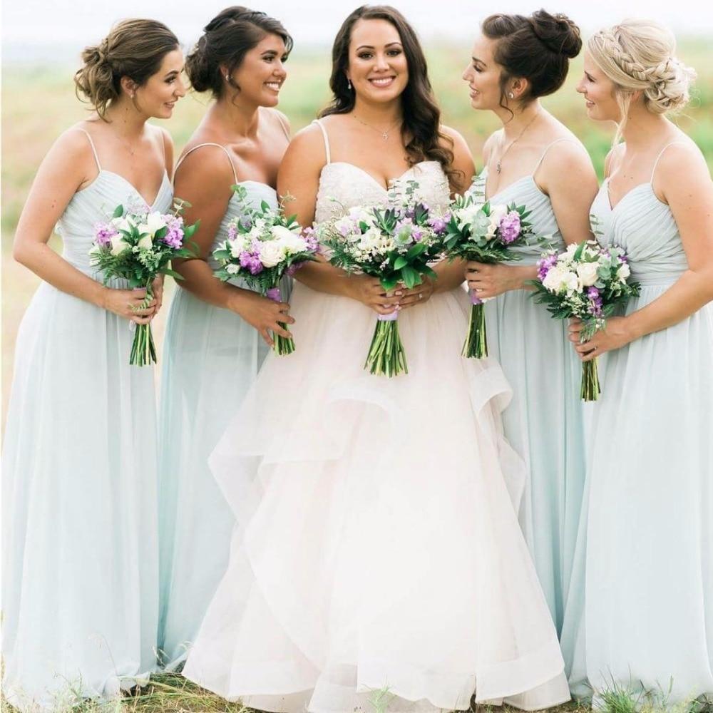 Simple Elegant Mint Green Bridesmaid Dresses 2019 A-line Chiffon Cheap Dress For Bridesmaid