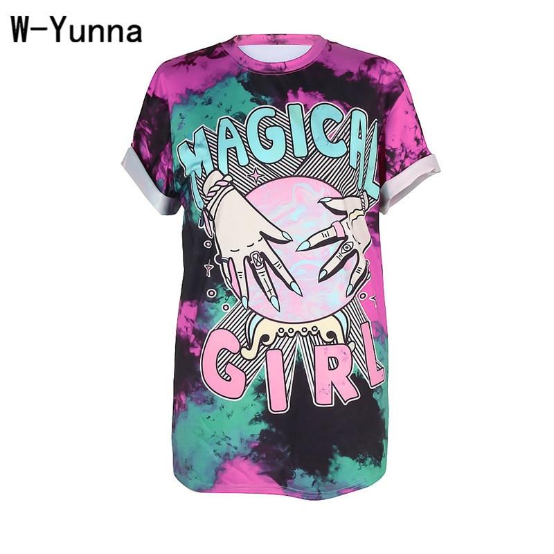 W-Yunna frauen Sommer T Top 2018 Hand Halten Mond 3D Print Wilde Freizeit Rundhals Lustige T shirts Mode Plus Größe Sexy T-shirt