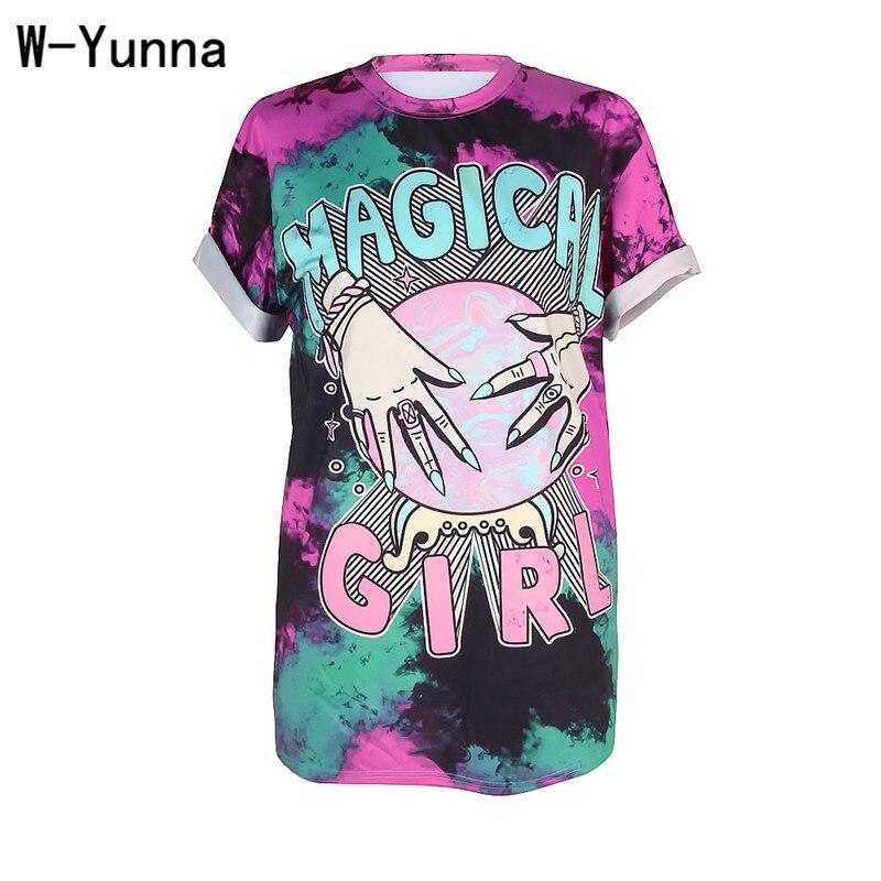W-yunna mujeres camiseta de verano Top 2018 mano Luna 3D salvaje ocio cuello redondo Camiseta moda más tamaño camiseta atractiva