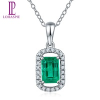 Lohaspie Solid 18K White Gold 0 76ct Natural Emerald Single Cut SI1 Diamonds Pendant Necklace For