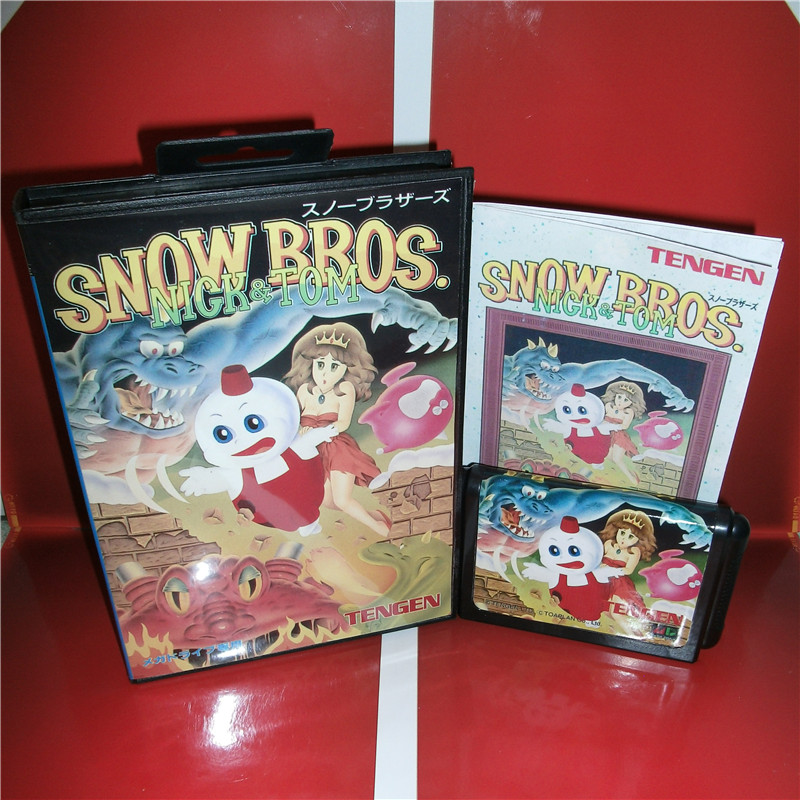 MD games card - Snow Bros Japan Cover with Box and Manual for MD MegaDrive Genesis Video Game Console 16 bit MD card sinder 2 16 md sega megadrive 16 bit game card