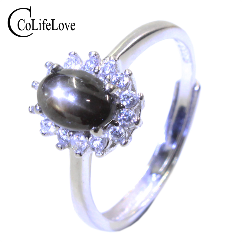 Classic star light sapphire silver ring 6 mm *8 mm natural star light stone ring solid 925 silver sapphire ring anniversary gift jewel neck sleeveless floral print a line belted dress