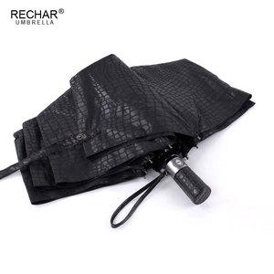 Image 2 - Imitation peau de Crocodile parapluie pluie femmes 3 pliant coupe vent entièrement automatique affaires grand parapluie haute qualité hommes parapluie