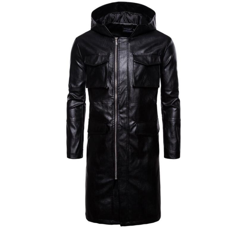 Mens giacca di pelle del motociclo sottile lungo cappotto di pelle giacche da uomo vestiti di strada personalizzato nero di modo di autunno inverno - 2